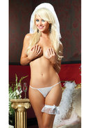 Dnd Veil Thong And Garter Set-wht-os