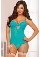 Teal Appeal Bustier And Thong-teal-m