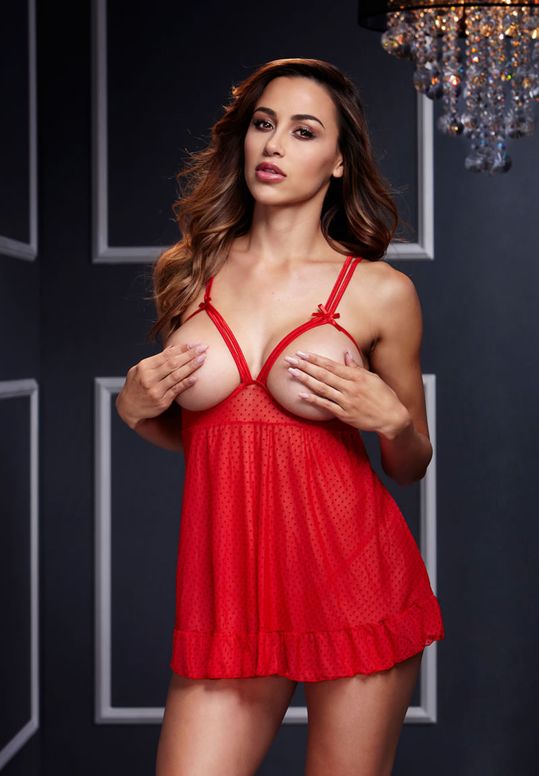 Red Sheer Babydoll W/ Open Cup Bra Panty